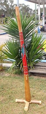 HAND CARVED&PAINTED YELLOW WOOD DIDGERIDOO DOT ART WAX MOUTH 150cmH END FLANGE