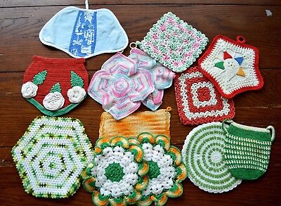 VINTAGE 1950s HAND CROCHET LOT OF 14 POTHOLDERS MIXED LOT GREAT CONDITION!