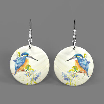 Color Printing Kingfisher Shell Earrings Round Drop Jewelry J1705 0559