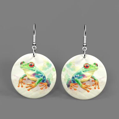 Color Printing Frog Shell Earrings Round Drop Jewelry Gift J1705 0584