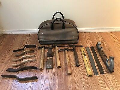 Vintage 17 Piece Tool Lot Auto Body Repair Shaping Forming Hammer File Paddle