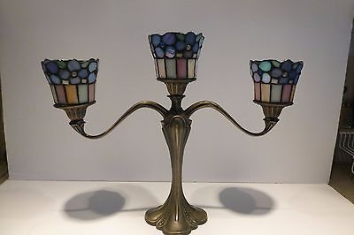 Rare Partylite Brass Candelabra 3 Stained Glass Hydrangea Peg Lights Holders
