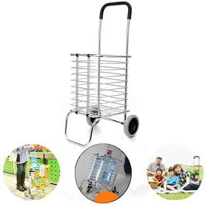 Shopping Cart Carts Trolley Aluminium Foldable Luggage Wheels Folding Basket AU