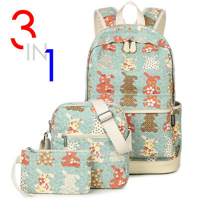 3pcs/Set Backpack Women Canvas Travel Bookbags School Bags for Teenager girls