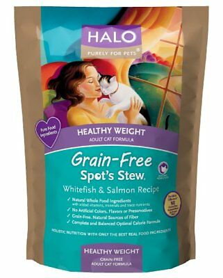 Halo Spots Stew Grain Free Healthy Weight Salmon and Whitefish Cat Food 07/20/19