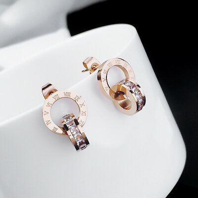 Lady Fashion 18K Rose Gold Plated RGP Roman Numeral CZ Stud Earrings