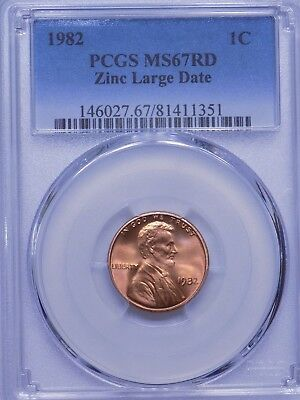 1982 Zinc Large Date Lincoln Cent, PCGS MS67 RED, VERY NICE!!