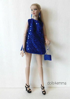 Blue DRESS PURSE & JEWELRY for CAMI Antoinette Tonner dolls FASHION NO DOLL