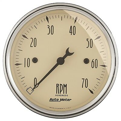 "AutoMeter 1898 Antique Beige Electric Tach. 3 1/8"" 7000 RPM"