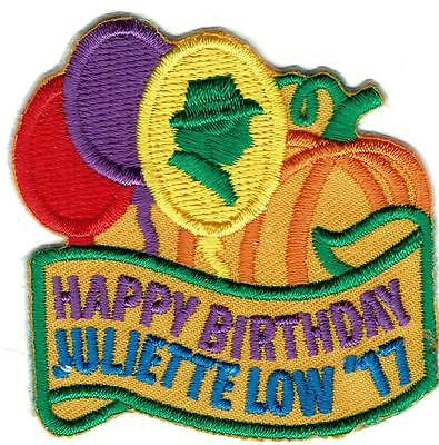Girl HAPPY BIRTHDAY JULIETTE LOW '17 2017 Fun Patches Crest Badge SCOUTS GUIDE