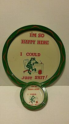 Rude Frog Vintage Novelty Ashtray And Tray Set