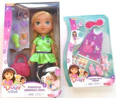 "NIckelodean Dora Explorer Alana Doll 14"" Slumber Party Fashion Set Lot Adventure"