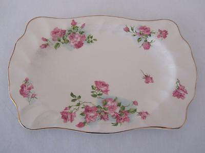 Vintage 'OLD CHELSEA' Pink Roses Sandwich Tray Plate Johnson Bros England