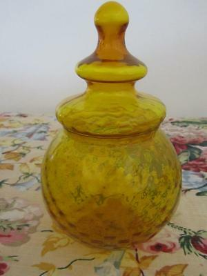 Vintage Bulbous Lidded CANDY Lolly JAR Optic Art Glass Yellow