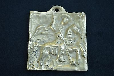 Antique Greek Russian Orthodox Bronze Hand Crafted Engraved Icon Saint George