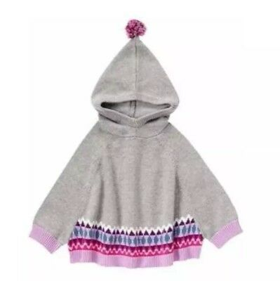 Gymboree Girl PRIMA BALLERINA Sz 5t Gray Hooded Sweater Poncho Nwt