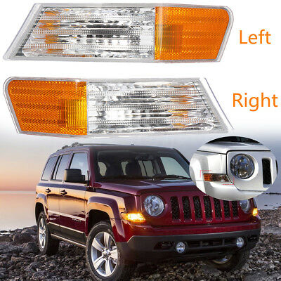 Pair Front L + R Parking Light Turn Signal Light Lamp For Jeep Patriot 2007-2014