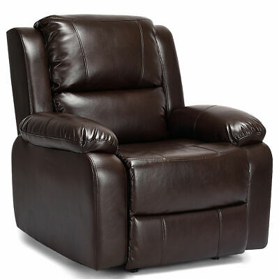 Manual Recliner Sofa Lounge Chair PU Leather Home Theater Padded Reclining Brown