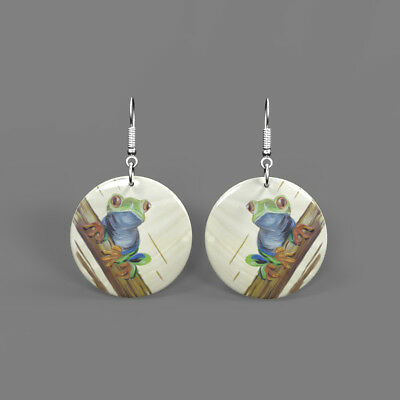 Fashion Earrings Color Printing Frog White Shell Round Drop J1705 0305