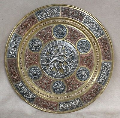 Large Plate Made of Copper, Brass & EPNS with Shiva Dancing on Apasmara, India