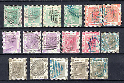 Hong Kong China 1863 Qv (Wmk Cc) Selection Of Used Stamps Pmk Interest