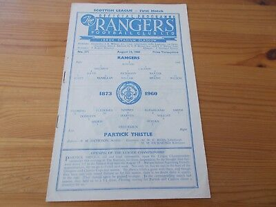 Rangers v Partick Thistle dated 24-8-1960.      (F797)