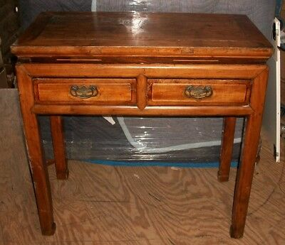 Antique Vintage 1800s Asian Chinese Cypress Elm 2 drawer Hall Side Table Desk.