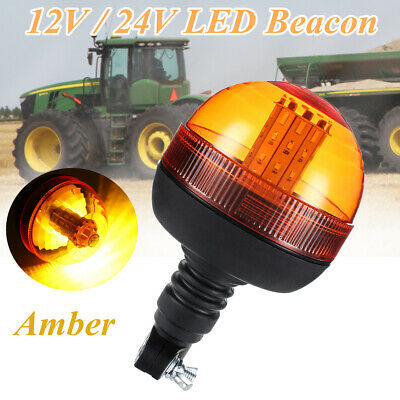 40 LED Rotating Flashing Amber Beacon DIN Pole Mount Tractor Warning Light Lamp