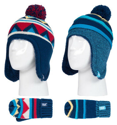 Heat Holders - Boys Winter Thermal Pom Bobble Hat and Mittens Set with Ear Flap
