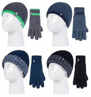 Heat Holders - Kids Boys Chunky Knit Winter Thermal Beanie Hat and Gloves Set