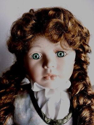Doll Spooky Haunted Creepy Looking Knightsbridge Porcelain Collectable On Stand