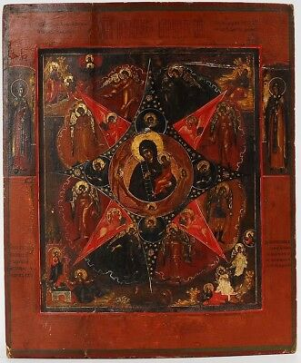 """Russian icon (early 19th) - The Mother of God """"Burning bush"""" (36 x 30 cm)"""