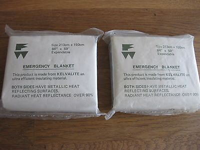 Vintage Army Issue Kelvalite Emergency Blankets FREE P&P