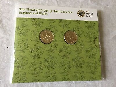 2013 UK Floral Brilliant Uncirculated £1 Two- Coin Set (England & Wales)