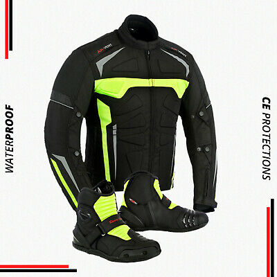 New Motorbike Waterproof Cordura CE Armored Jacket Motorcycle Ankle Leather Boot