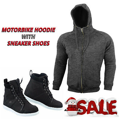 New Motorbike Armoured Hoodie Jacket Motorcycle Waterproof Leather Sheos Boot