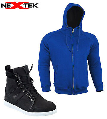 Motorbike Motorcycle Armoured Hoodie Jacket 100% Waterproof Leather Shoes Boots