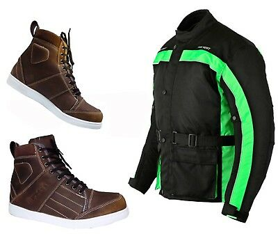Motorbike Armoured Jacket Motorcycle Waterproof Coat Short Ankle Leather Shoes