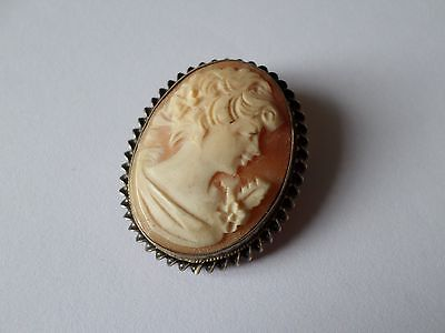 Vintage hallmarked 1981 sterling silver mounted natural cameo brooch
