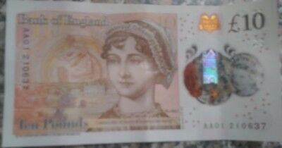 AA01 NEW £10 TEN POUND NOTE POLYMER  Serial Number 210637