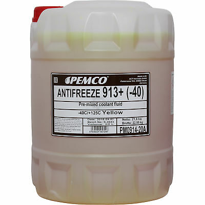 Genuine Pemco 1x20 LITRE Antifreeze Anti-Freeze 913+ Yellow pm0914-20