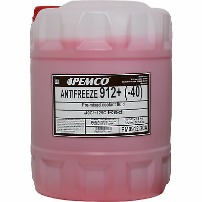 20 Litre Genuine Pemco Antifreeze Anti-Freeze 912+40) Red