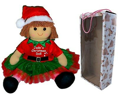 Personalised Rag Doll Christmas Gift Large Elf Dolly Embroidered Dress & Box