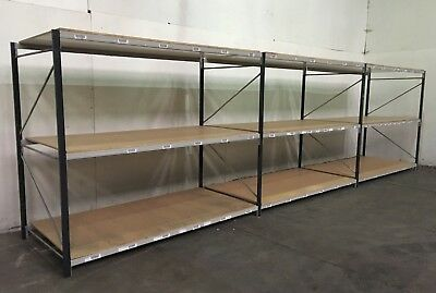 Pallet racking, Shelving, Longspan shelving, 3 joined bays with BRAND NEW boards