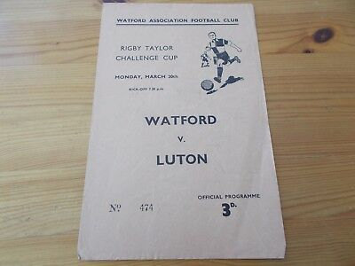 Watford v Luton Rigby Taylor Cup programme dated 20-5-1961.  (F825)