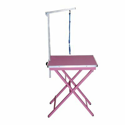 Compact Dog Grooming / Ringside Table - Adjustable / Portable / Fold Away - Pink