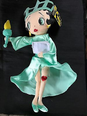 "Kellytoy Betty Liberty Betty Boop 17"" Plush Doll Statue of Liberty Stuffed NWT"