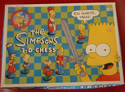 THE SIMPSONS 3-D Chess set 1992 Bart Lisa Maggie Marge Homer Grandpa Groening NR