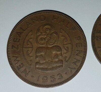 New Zealand Half Penny Coins X 3 1953 1954 1955