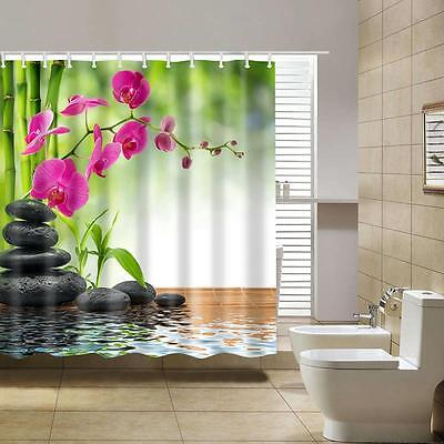 3D Spring Printing Waterproof Fabric Shower Curtain with 12 Hooks ,71*71in